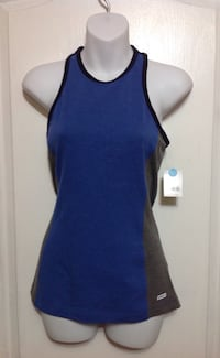 Blue & grey gym workout top: size small. brand new w/ tags