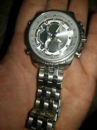 round silver chronograph watch with link bracelet Flint, 75762