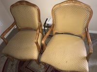 two brown wooden framed gray padded armchairs Markham, L3P 4R3
