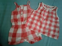 white-and-red checked rompers and tank top