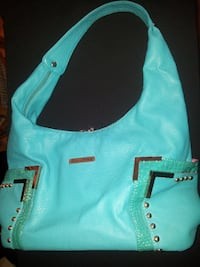 teal and black leather hobo bag Moncton