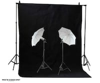 Photo Video Continuous Umbrella Lighting Kit + Black Backdrop Kit / photovideospot.ca Toronto