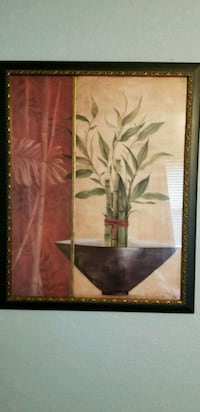 brown wooden framed painting of flowers Euless, 76040