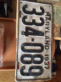 1937 Maryland License Plate