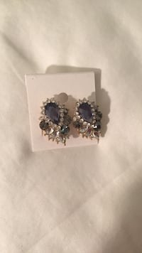 pair of silver-colored stud earrings with black and clear gemstones Falls Church, 22046