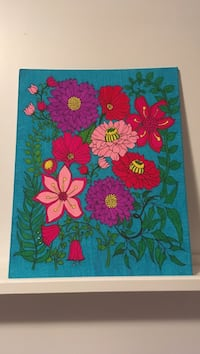 pink, purple, and red floral painting