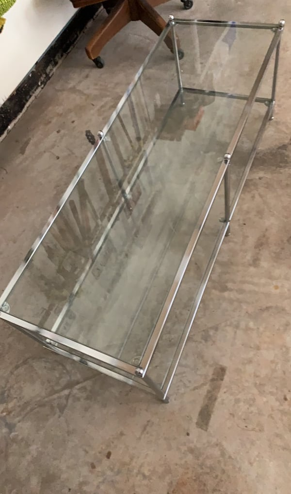 Two Glass Shelf/Chrome Coffee Table a8161432-e953-47f4-9b6a-740eb4c13bfe