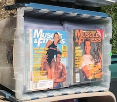 Must pick up $10 each container full of workout magazines