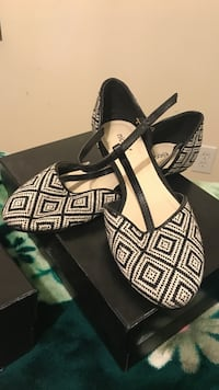 black-and-white aztec flat shoes