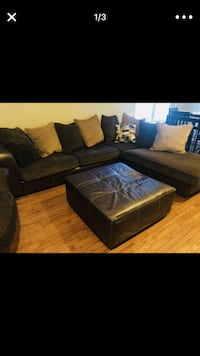 Brown sectional, ottoman, and high rise chair with throw pillows  Woodbridge, 22193