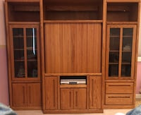 Three-piece Wall Unit w/Glass Doors, Drawers, TV Space and Media Space