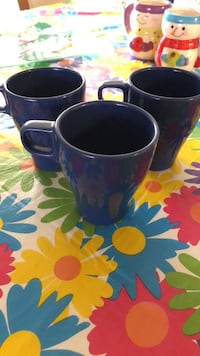 3 Blue Ceramic Mugs New York, 11414