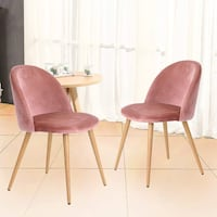 Set of 2 Pink/Mauve Velvet Chairs. Lanham