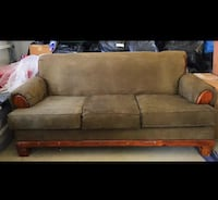 Two piece couch set Olive washable suede almost new Bakersfield