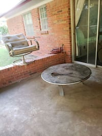 patio furniture 3 chairs 1 glass table very heavy.