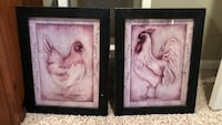 Adorable pair of wooden framed rooster prints  Lorton, 22079