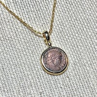 Genuine 14k Gold Roman Coin Pendant with 14k Rope Chain Ashburn