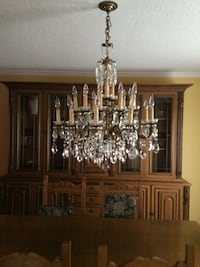 French Brass & Crystal Chandelier Toronto, M2M 4C1