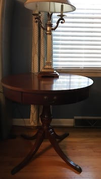 round brown wooden side table