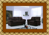 Chocolate microfiber sofa and love seat free deliv McLean