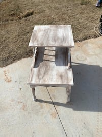 "White distressed telephone accent side table 22.5""H x 17L x 27""W"
