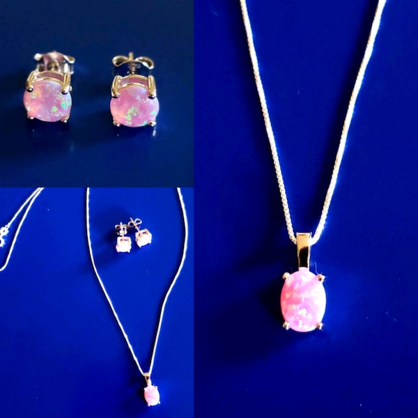 Sterling Silver Lab Pink Opal Necklace Set