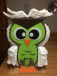 Owl diaper cake baby shower gift centerpiece