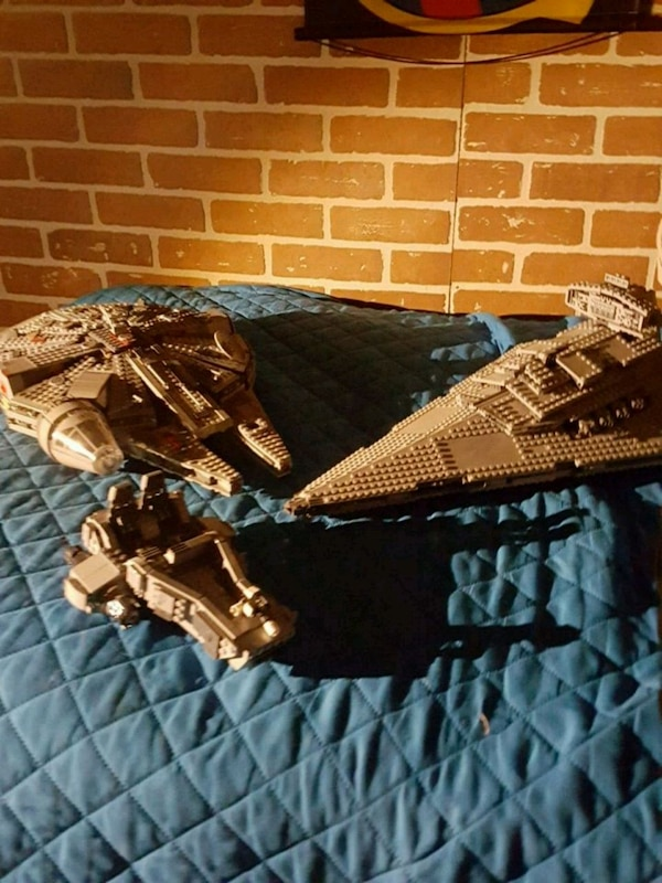 three Star Wars spaceship