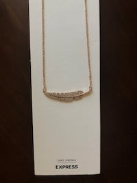 EXPRESS cubic zirconia feather necklace. New