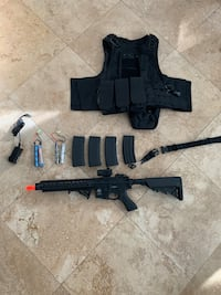 AIRSOFT SR-16 FULL METAL BUNDLE WITH OPTIC 4MAGS VEST SLING 2BATTERY