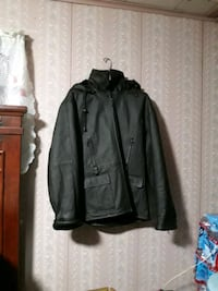 Dark brown fur lined with hood leather jacket doble extra large