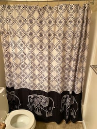 Bath and white elephant shower curtain