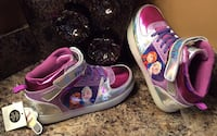 Frozen pink, white, silver, purple, & blue high cut shoes- brand new, lights up