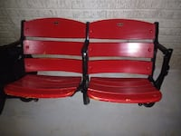 Black metal framed red wooden twin chair that was in The Famous Cole Field House!!!! Ellicott City, 21042