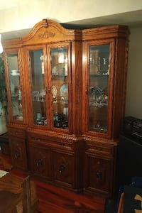 brown wooden framed glass china cabinet TORONTO