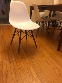 6 White Eiffel Chairs with dark walnut colour legs - $30 each or all 6 for $150 Toronto, M6E