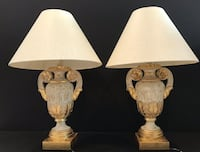 Pair of Vintage Italian Urn Table Lamps with 22kt. Rosettes!