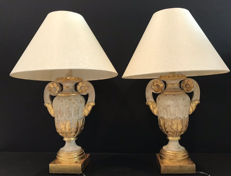Pair of Vintage Italian Urn Table Lamps with 22kt. Rosettes! 1d2bce55-f0be-49b4-8255-6ee85e273869