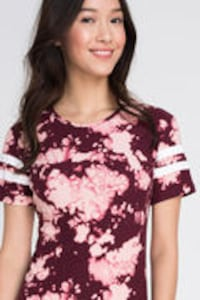 women's red and white floral crew-neck t-shirt EDMONTON