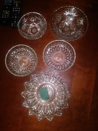5 piece vintage candy dishes