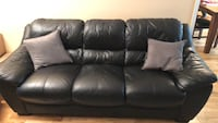 Black leather couches 3 piece  Surrey, V3X 2N4