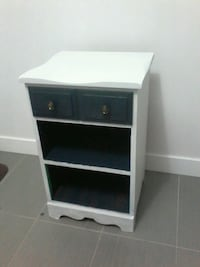 Refinished Blue and White Nightstand