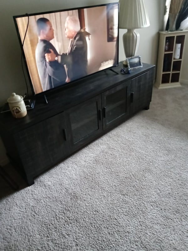 7.5ft aged pine entertainment center 1