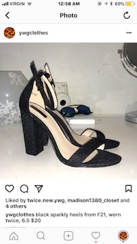 pair of black open toe ankle strap heeled sandals