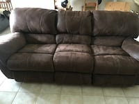 Brown leather double recliner sofa  Williston, 32696