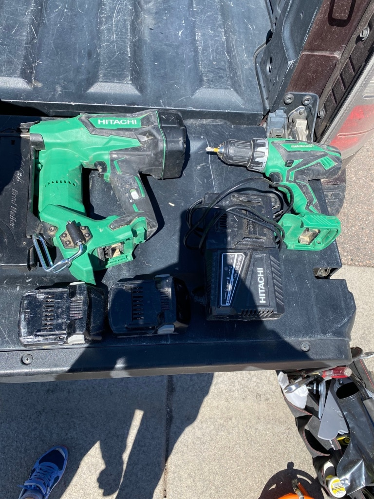 Photo Hitachi cordless nail gun,drill and floor cutter. Price for all