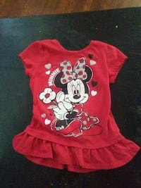 baby's red and white Minnie Mouse onesie Anderson, 96007