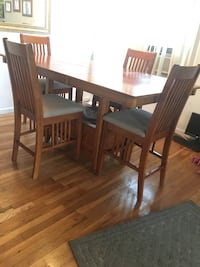 rectangular brown wooden table with four chairs dining set Deer Park, 11729