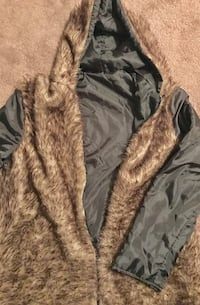 Gray and brown fur jacket