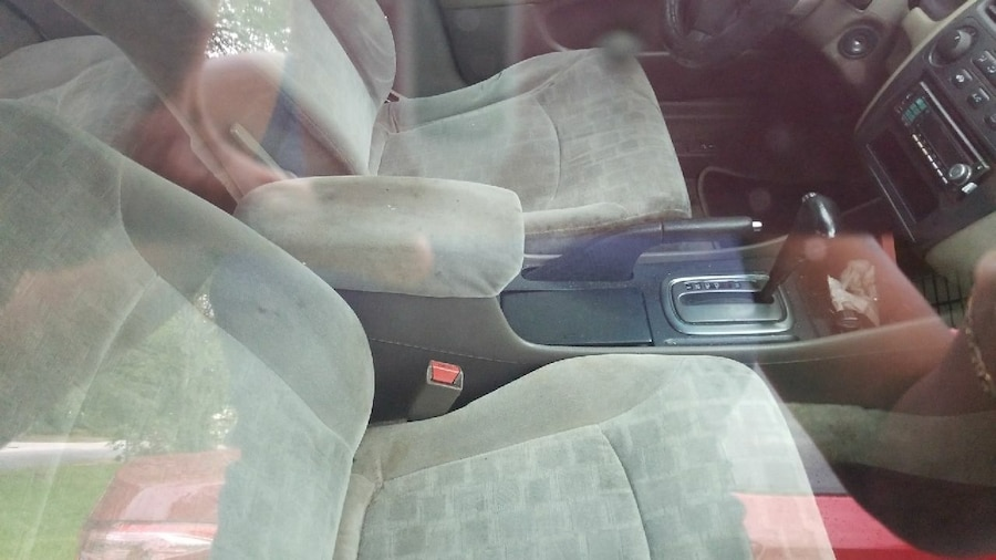 gray suede car seat